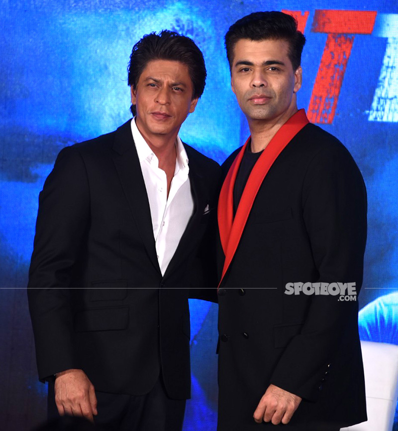 shah rukh khan and karan johar at ittefaq media meet