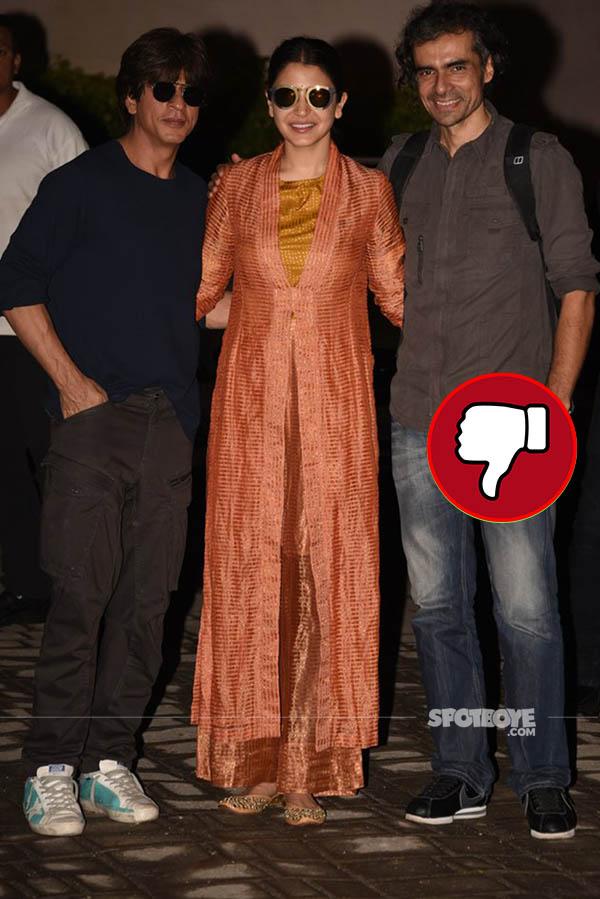 anushka sharma with shah rukh khan and imtiaz ali snapped at the airport