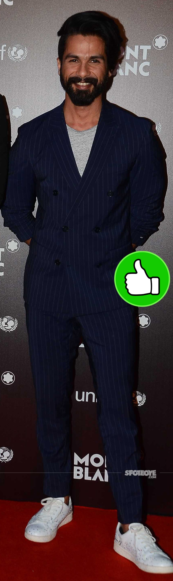 shahid kapoor looks dashing in a blue stripped suit at the mont blach bash