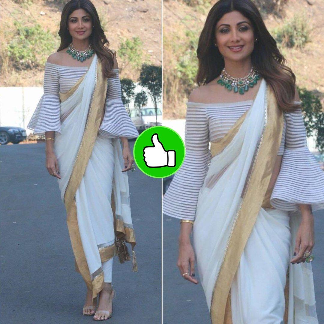 shilpa shetty looks pretty in a saree
