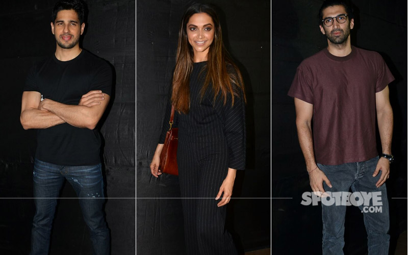 sidharth malhotra deepika padukone and aditya roy kapur at secret superstar screening