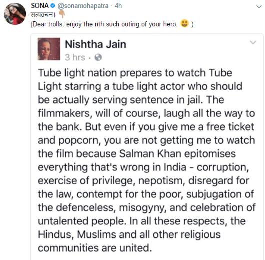 sona mohapatra retweeted to nishtha jain twitter post