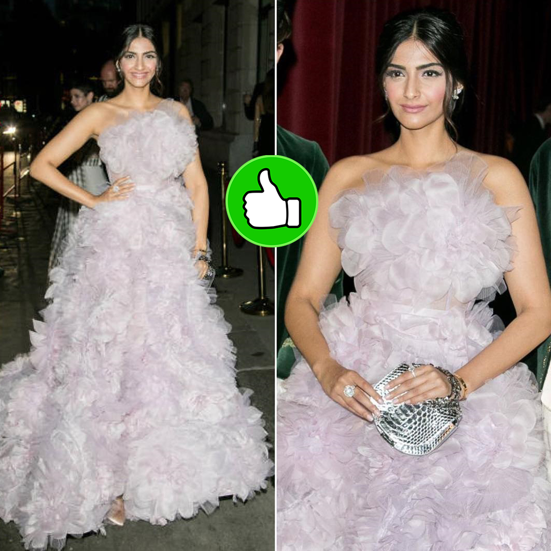 sonam kapoor in a white feather dress