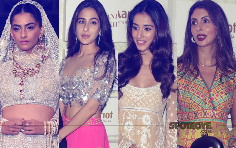 Sonam Kapoor, Sara Ali Khan, Disha Patani, Shweta Bachchan Nanda At Abu Jani & Sandeep Khosla's Fashion Show