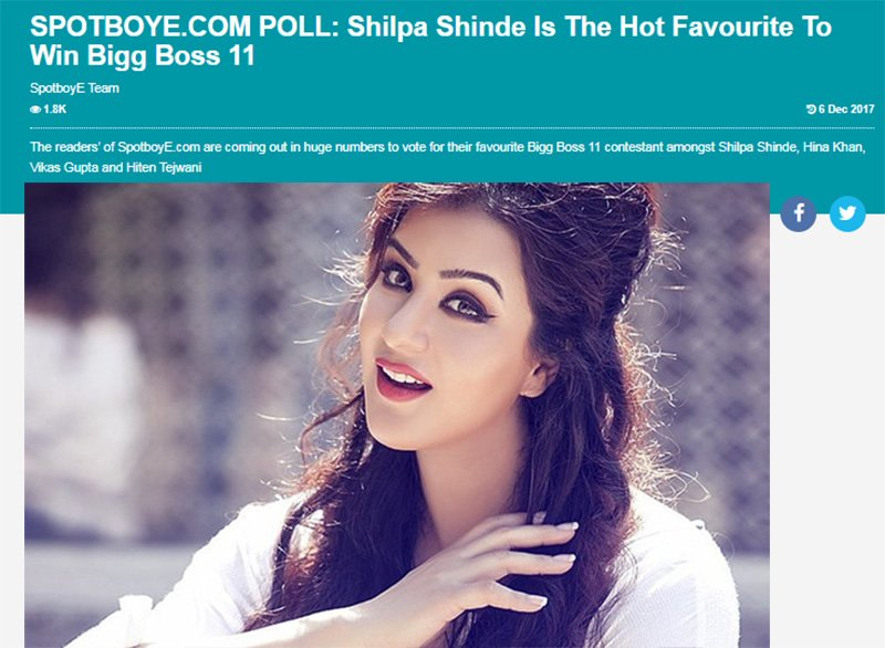 spotboye conducted a poll on shilpa shinde will win bigg boss 11