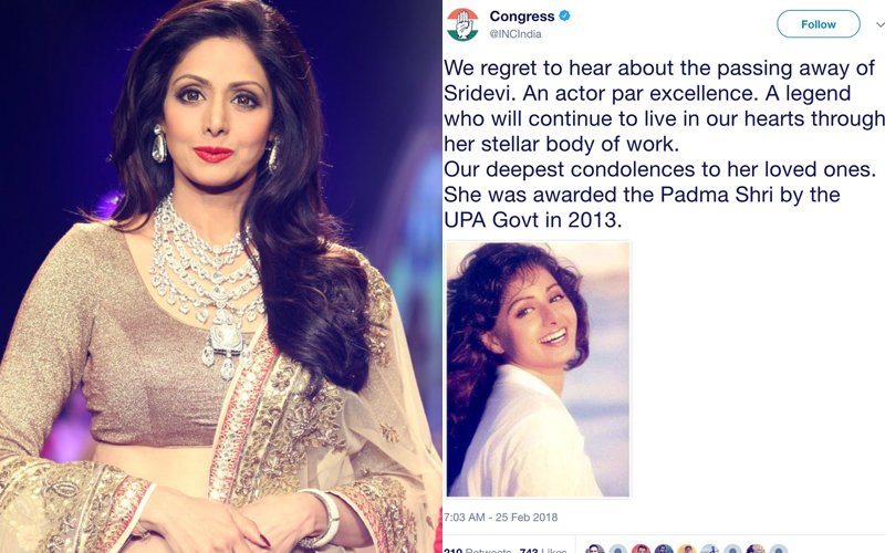 Congress Party Takes Down Condolence Message For Sridevi After Furious Backlash On Twitter