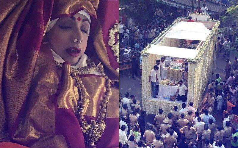 श्रीदेवी की शवयात्रा पहुंची श्मशान भूमि, अंतिम संस्कार में शामिल होने पहुंचे अमिताभ बच्चन और शाहरुख़ खान