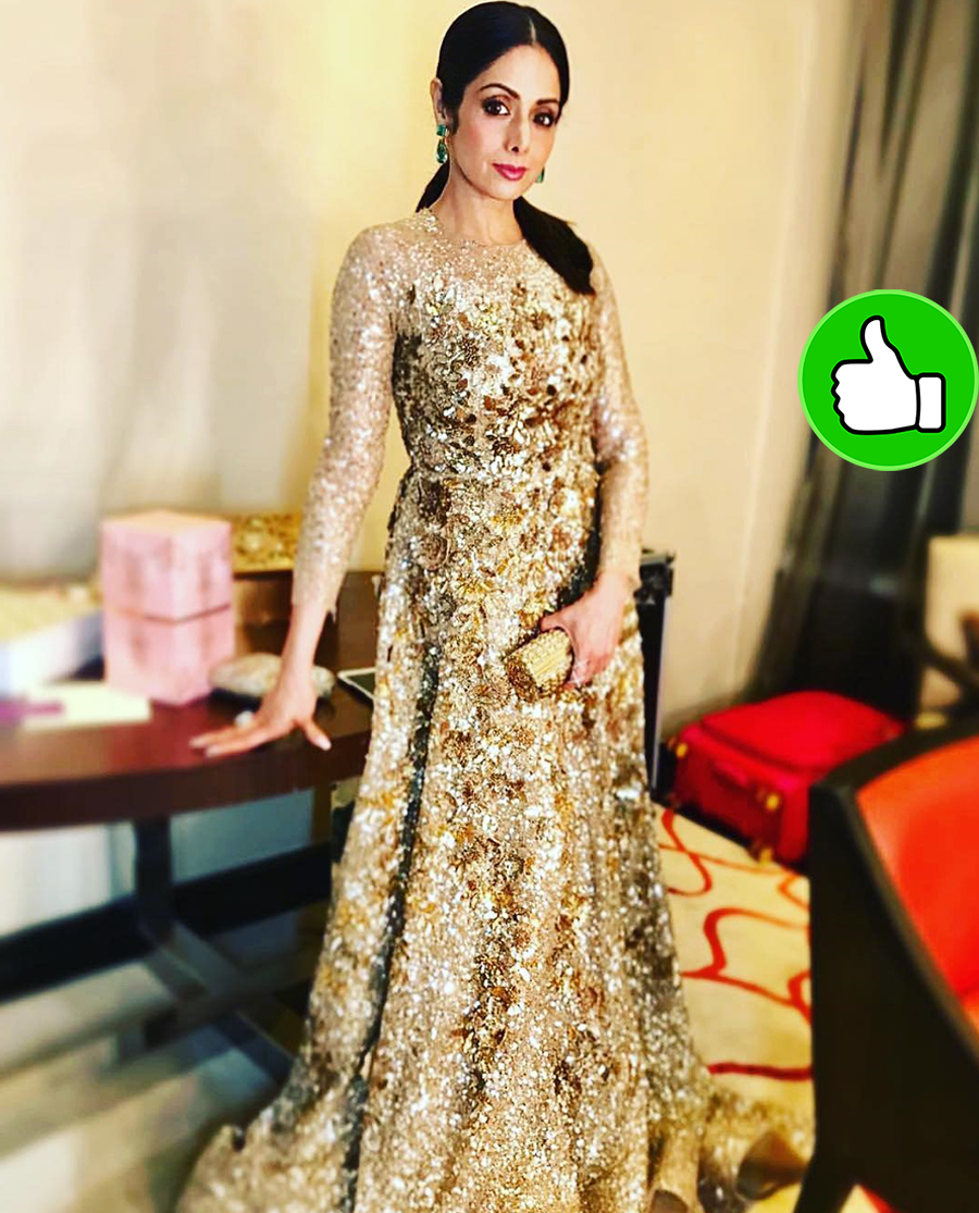sridevi posing for the shutterbugs in her indian attire