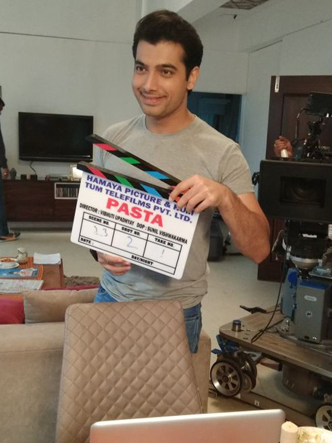 ssharad malhotra on the sets of pasta