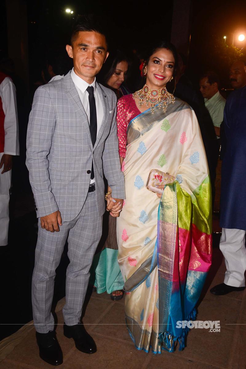 sunil chhetri with wife at poorna patel reception