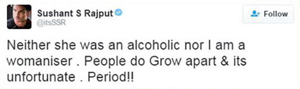 sushant singh rajput tweet about break up