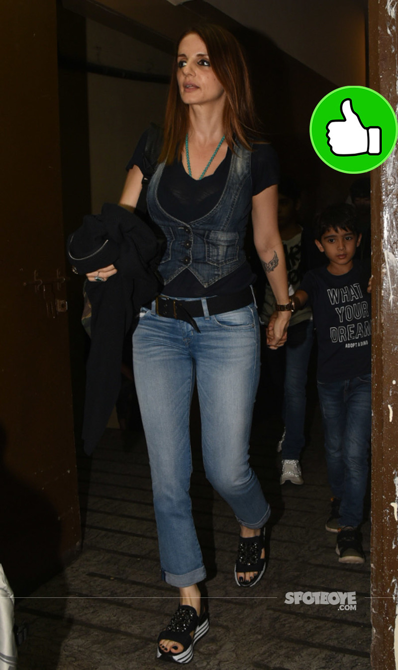 sussanne khan snapped post watching a movie