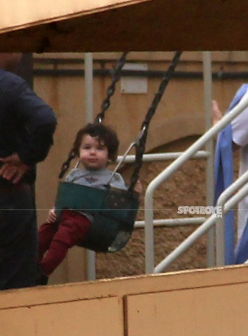 taimur ali khan tries to get out of the swing but he isnt allowed to by the watchguards