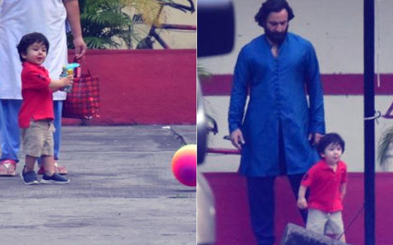 पापा सैफ अली खान के साथ फूटबाल खेलते दिखे तैमूर अली खान
