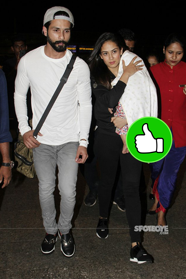 shahid kapoor, mira rajput and misha at the airport
