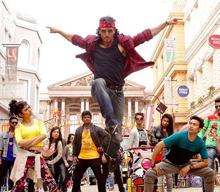 tiger shroff performs a stunt in ding dang song