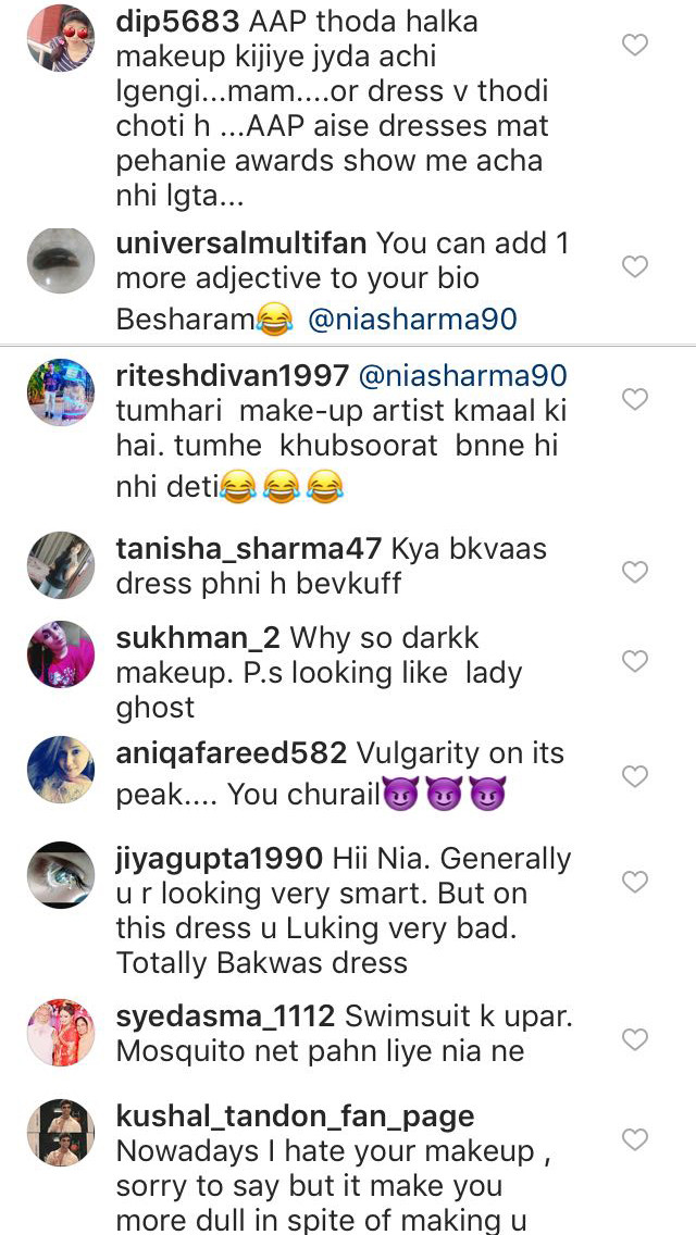 trollers comment on nia sharma instagram post