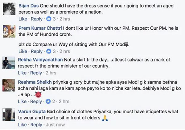 trolls regarding priyanka chopra in a short dress when meeting pm narendra modi