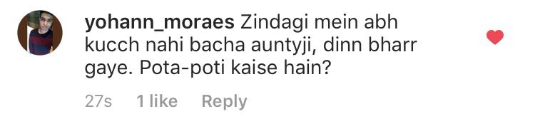 user commenting on mallika age