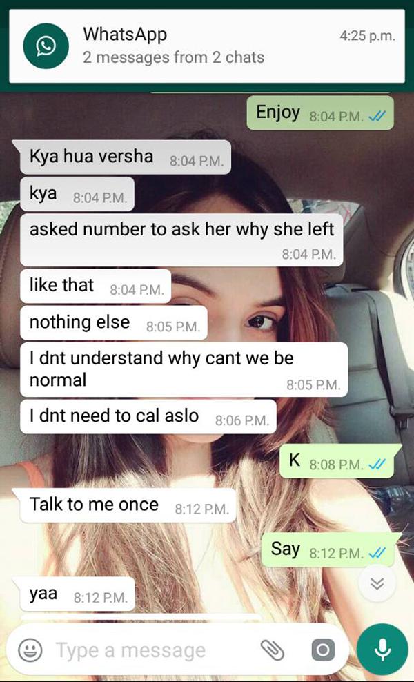 varsha bhagwani and rahul raj singh watsapp conversation 1