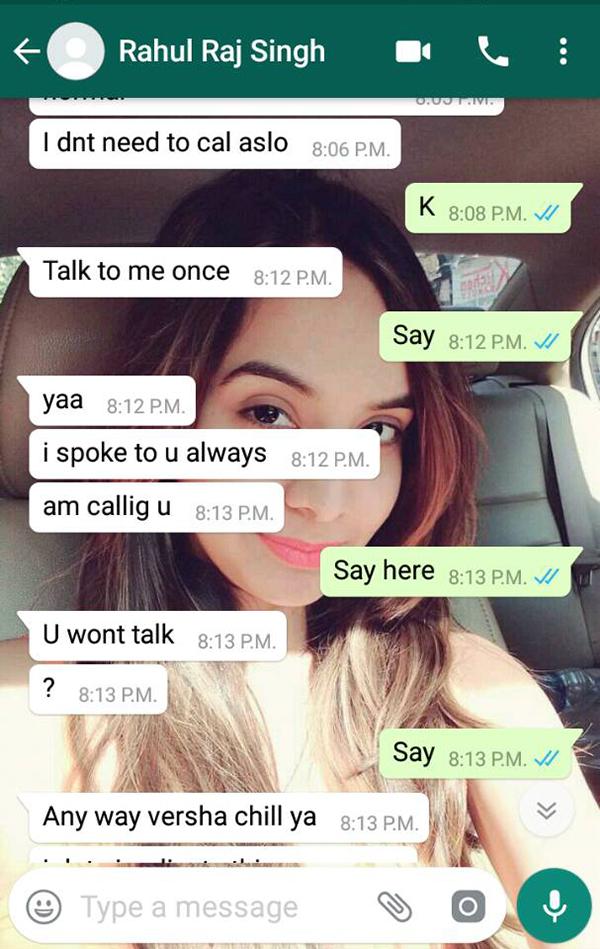 varsha bhagwani and rahul raj singh watsapp conversation 2