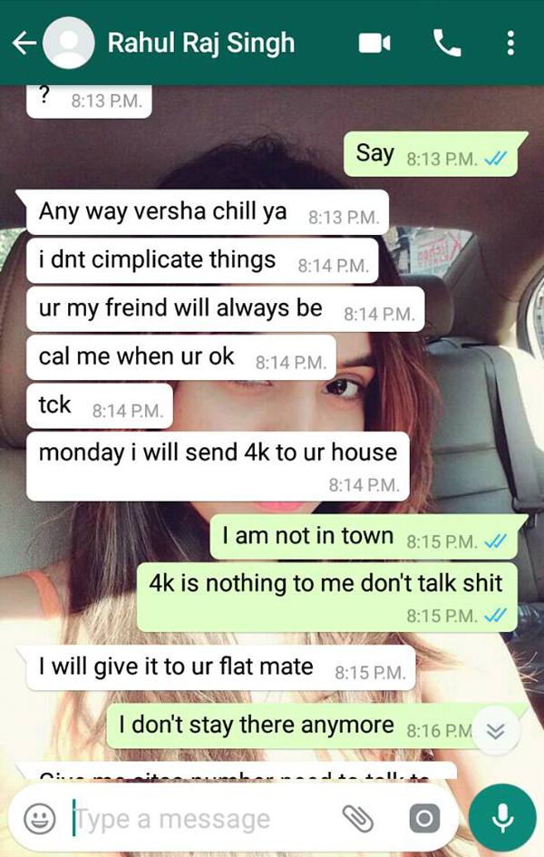 varsha bhagwani and rahul raj singh watsapp conversation 3