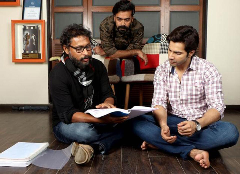 varun dhawan with shoojit sircar discussing scripts