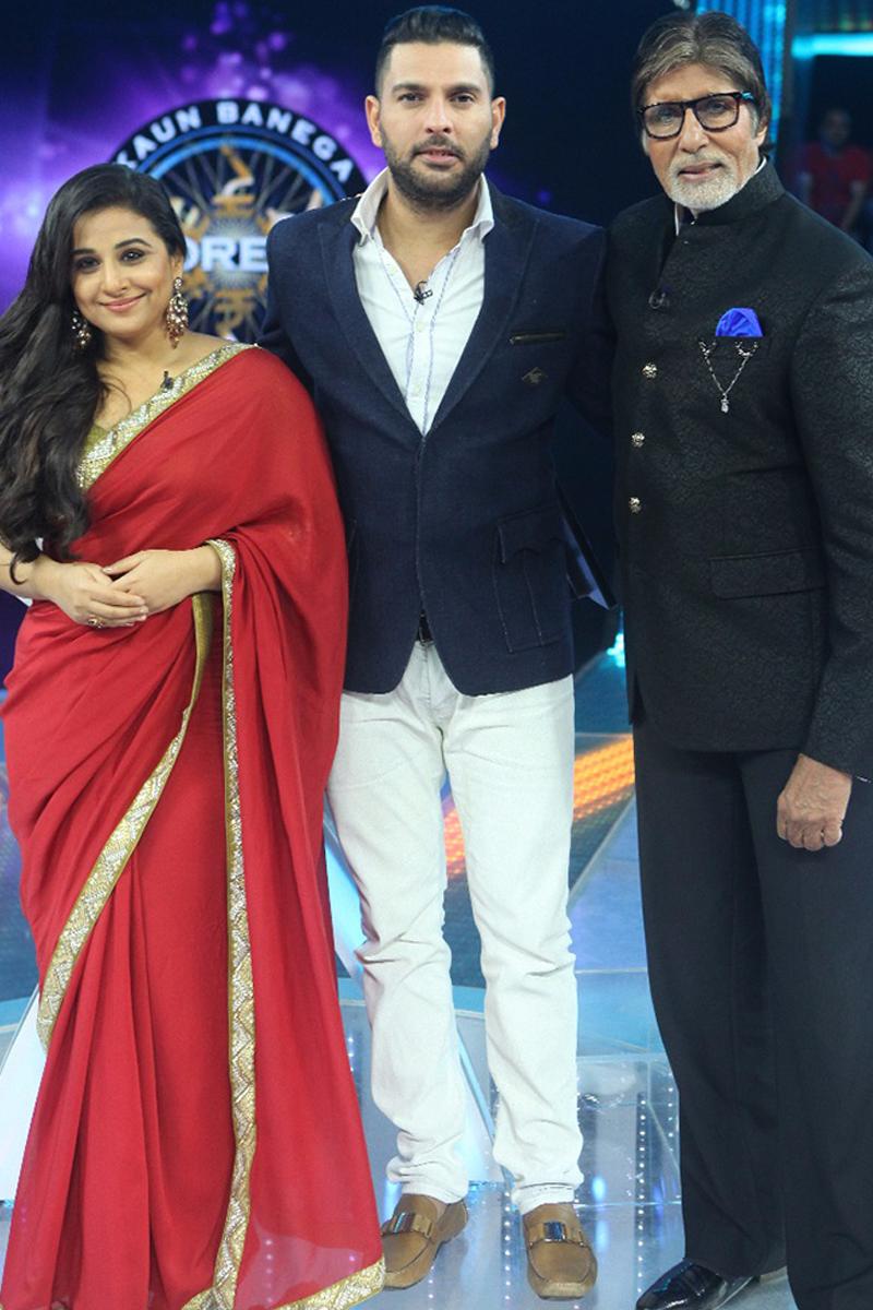 yuvraj singh vidya balan and amitabh bachchan pose for the cameras