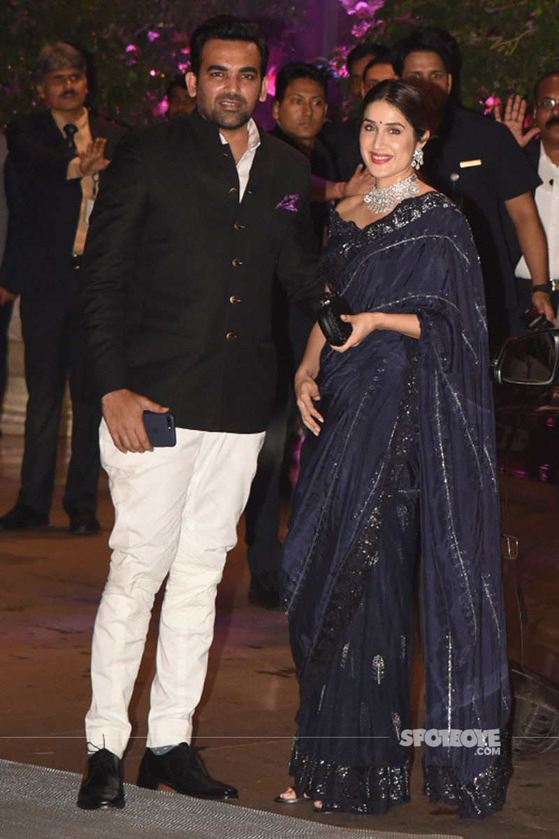 zaheer khan with sagarika ghatge at the ambani engagement bash