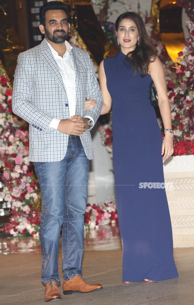 zaheer khan with wife sagarika ghatge at akash ambani engagement bash