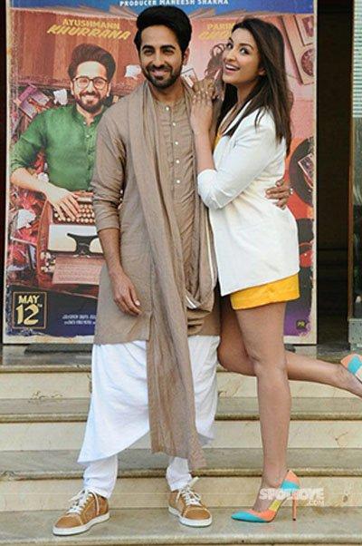 ayushmann khurrana and parineeti chopra pose for the paps at the trailer launch of in meri pyaari bindu chapter 1