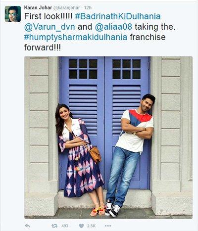 Karan Johar tweets Alia Bhatt and Varun Dhawan first looks in Badrinath Ki Dulhania .jpg