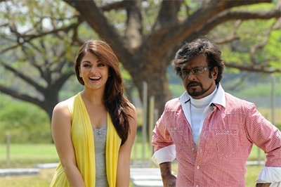 Stylish Aishwarya Rai with Super star Rajini in Endhiran