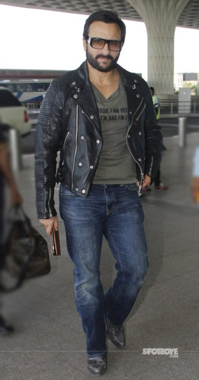 Saif Ali Khan looks he is in his Race spotted at airport