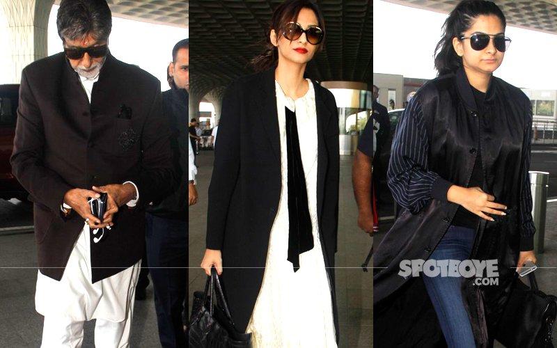 AIRPORT SPOTTING: Amitabh Bachchan, Sonam Kapoor, Rhea Kapoor's Love For Coats