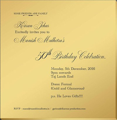 manish malhotras birthday invitation