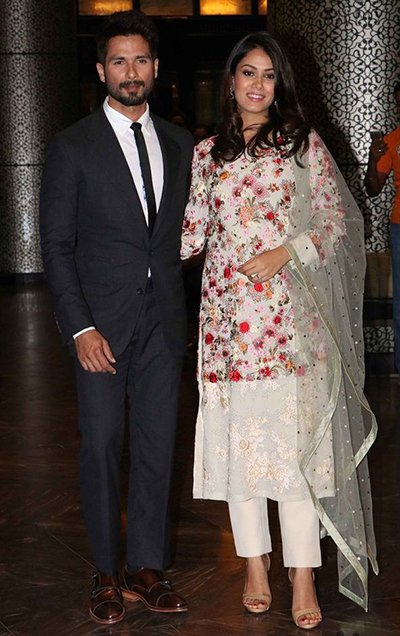 shahid kapoor and mira rajput at preity zinta wedding