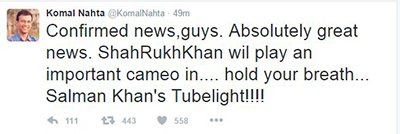 komal nahta tweet on tubelight