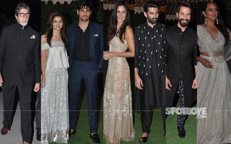Big B, Alia-Sidharth, Katrina, Aditya, Shahid, Sonakshi At Ronnie Screwvala's Daughter's Wedding Reception
