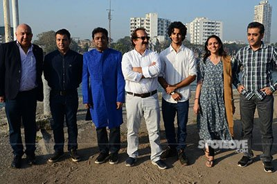 ishaan a r rahman and others on the sets of ishaans debut film