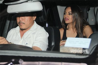 sonakshi sinha in the car post salon spa session