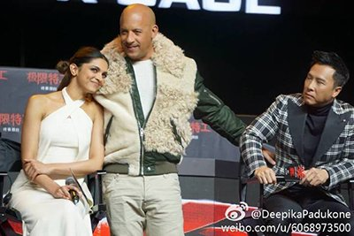 deepika padukone with vin diesel at the launch
