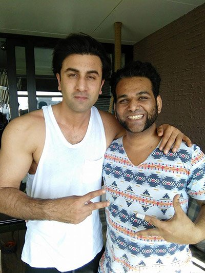 ranbir kapoor snapped on the sets of sanjay dutt biopic