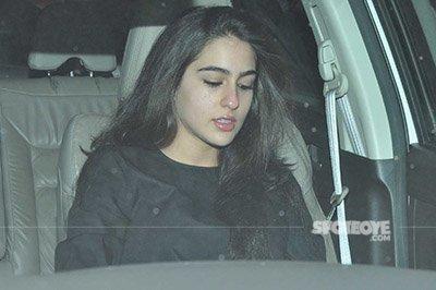 sara ali khan snapped at karan johars valentines party