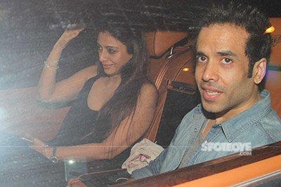tabu and tusshar kapoor snapped at karan johars valentines party
