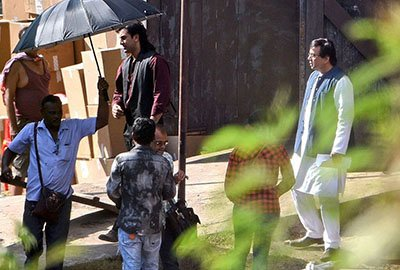 ranbir kapoor and aresh rawal on the sets of sanjay dutts biopic