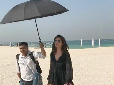 parineeti chopras spot holding the umbrella