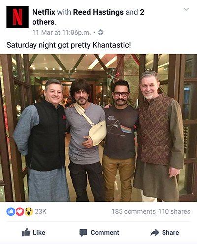 shah rukh khan and aamir khan posing with netflix ceo reed castings
