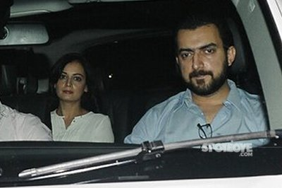 dia mirza with husband spotted at phillauri screening