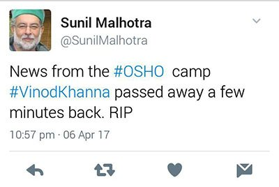 sunil malhotra osho speading rumours of vinod khanna death